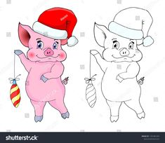 Vector guinea pig keeps Christmas toy.