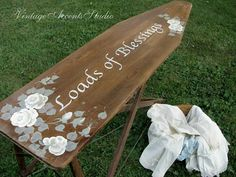 SALE Antique Wood Ironing Board | Vintage Farmhouse Table | Laundry Room REPURPOSED Wall Art | Hand Painted French Chic Home Decor