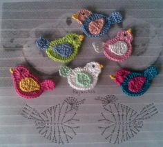 alice brans posted bird applique, crochet appliques and crochet birds. to their -crochet ideas and tips- postboard via the Juxtapost bookmarklet. Crochet Birds, Love Crochet, Irish Crochet, Crochet Flowers, Crochet Baby, Crochet Animals, Diy Crochet, Crochet Fabric, Crochet Unicorn