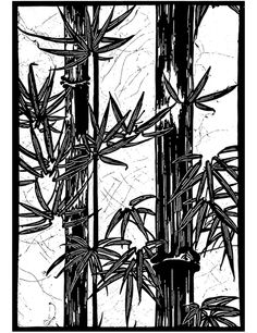 Japanese stencil bamboo trees Dover Publications