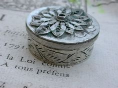 French antique art nouveau sold sterling silver box pill box antique box flower ornate round metal filigree ornate by PARISOUIPARIS on Etsy https://www.etsy.com/listing/232600233/french-antique-art-nouveau-sold-sterling