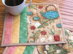 Tea Time Mug Rugs Set of 2 by judywhitneycreations on Etsy