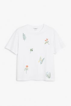 Monki Image 1 of Embroidered tee in White