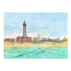 Blackpool Seafront - new watercolour painting fresh from the Seaside Emporium