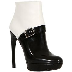 Alexander McQueen white smooth leather and black patent leather booties