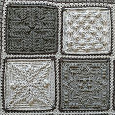 Play with textured squares and use up those unusable odds and ends of yarn that always seem to accumulated at the end of projects! Prayer Shawl Crochet Pattern, Crochet Mandala Pattern, Granny Square Crochet Pattern, Afghan Crochet Patterns, Crochet Stitches, Knitting Patterns, Crochet Cable, Crochet Wool, Crochet Quilt