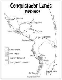 This printable conquistador map shows a portion of the western hemisphere from the 16th century, the Aztec and Inca empires, and the area conquered by Spain.