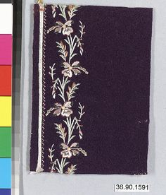 Sample Date: early 19th century Culture: French Medium: Silk and metal thread on felt Dimensions: L. 5 x W. 3 inches 12.7 x 7.6 cm Classification: Textiles-Embroidered Credit Line: Gift of The United Piece Dye Works, 1936