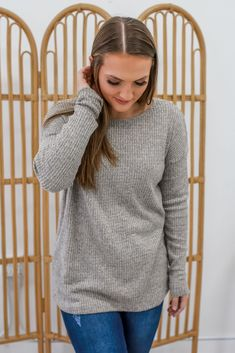 Waffle Knit Heather Gray Long Sleeve Winter