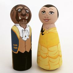 Hand painted, wooden peg dolls