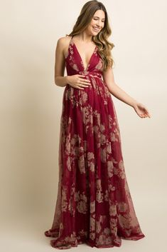 The Maternity Maxi Dresses – When Comfort Meets Style Burgundy Floral Velvet Tulle Maternity Maxi Dress Maternity Maxi Skirts, Maternity Gowns, Stylish Maternity, Pink Blush Maternity, Maternity Fashion, Maxi Dresses, Summer Maternity, Maternity Outfits, Hijab Outfit
