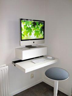 Minimalist White iMac Floating Desk Wall Mounted IKEA More