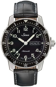 Sinn 104 St Sa A Classic Pilot Watch Dark Brown Vintage Leather - First Class Watches™ Stainless Steel Polish, Stainless Steel Case, Sinn Watch, Mechanical Watch, Luxury Watches, Dark Brown Leather, Vintage Leather, Link Bracelets, Watches For Men