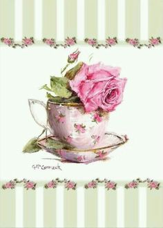 Rose covered tea cup holding a big pink rose and bordered by green stripe with small repeated roses. Decoupage, Image Girly, Estilo Shabby Chic, Antique Tea Cups, Vintage Cups, Cup Design, Collage Sheet, Altered Art, Scrapbook Paper