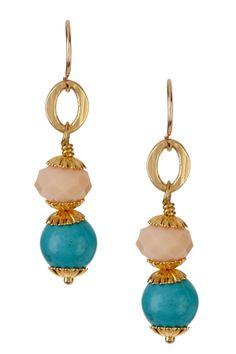Stacked Turquoise & Peach Earrings <3