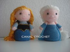 Muñecas Amigurumi Elsa y Ana de Frozen - Patrón Gratis en Español y con Videotutorial aquí: http://amigurumilacion.blogspot.com.es/2015/06/elsa-frozen-amigurumi-patron-libre.html