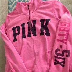 Victoria'sSecret pink sweatshirt half zip Sz L💗 Victoria'sSecret pink sweatshirt half zip Sz L! Very comfortable and a great color!! ✨✨💗 Victoria's Secret Tops Sweatshirts & Hoodies