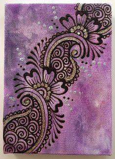 Henna paste and acrylic paint on stretched canvas. Henna Designs Easy, Mehndi Designs, Tattoo Designs, Henna Canvas, Canvas Art, Henna Mandala, Mandala Tattoo, Art On Wall, Henna Kunst