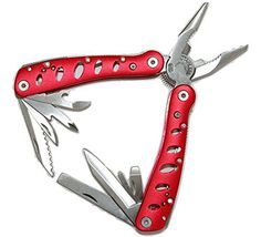 Multitool Deluxe Red Multi Tool Pouch Folding Hand Tool. Multifunction Multipurpose Survival Tool For Backpacking