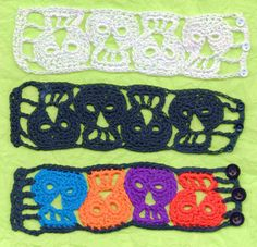 PDF File Quartet Day of the Dead Sugar Skull Crochet Bracelet  Pattern