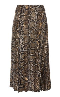Pleated Snake-Print Silk-Twill Midi Skirt by Victoria Beckham Pleated Midi Skirt, Silk Skirt, Sequin Skirt, Victoria Beckham Outfits, Victoria Beckham Style, Gray Skirt, Snake Print, Dress Up, Women Wear