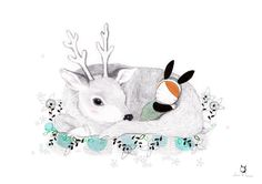 Wish I could cuddle up next to a warm cute deer :)  Nursery Goodnight Art - Whimsical Deer and baby Bunny - Buonanotte. $30.00, via Etsy.