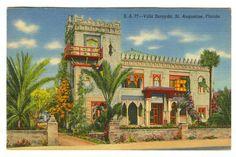 Vintage 1941 VILLA ZORAYDA St. Augustine FLORIDA Linen Postcard! Curt Teich!