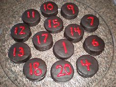 Hockey pucks!  (rings dings decorated with the kid's jersey numbers).  Too bad I didn't see this when Ben was little.. :)