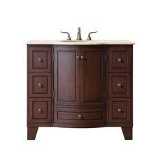 stufurhome Grand Cheswick 40 in. Vanity in Dark Cherry with Marble Vanity Top in Travertine with White Undermount Sink