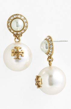 Elegant and shiny. Love these Tory Burch faux pearl drop earrings.