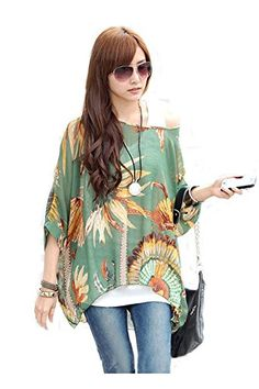 iNewbetter Womens Floral Batwing Sleeve Beach Loose Blouse Tunic Tops *** Check out the image by visiting the link.