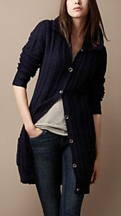 love the long cable knit cardi