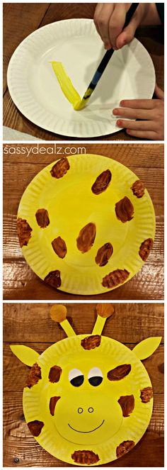 Giraffe paper plate craft for kids! Could use for a zoo theme unit etc. #DIY | CraftyMorning.com