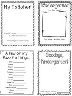 Kindergarten Memory Book: 32 printer friendly pages to create a special memory book. Add photographs, student illustrations, and writing samples. Parents will thank you for this Kindergarten treasure! Kindergarten Graduation Gift, Kindergarten Writing, Kindergarten Classroom, Kindergarten Activities, Graduation Ideas, Classroom Ideas, Graduation Gifts, Literacy, Preschool Memory Book