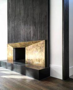 Fireplace inspiration courtesy of 🖤 – Decoration Contemporary Fireplace Designs, Contemporary Interior Design, Luxury Interior Design, Custom Fireplace, Fireplace Wall, Fireplace Surrounds, Floating Fireplace, Modern Fireplaces, Cladding Design