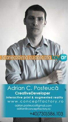[Romanian content] It is great example of how can augmented reality add value to your business card. It is created by a free @Layar user from Romania. Scan with the Layar App to see how he comes alive from the card!