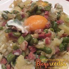 Begorecetas: Habitas con jamón, patata y huevo