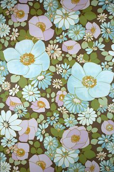 Vintage turquoise floral wallpaper with a large flower pattern. Turquoise blue will add a bright, unique and pleasant feel to your interior and decor.