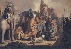 David Presents the Head of Goliath to King Saul by Rembrandt van Rijn  #rembrandt #paintings #art