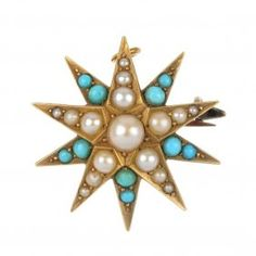 An early century gold Turquoise and Split Pearl Star Brooch.--- The graduated split pearl star, with graduated circular turquoise cabochon ray spacers Victorian Jewelry, Antique Jewelry, Vintage Jewelry, Star Jewelry, Gems Jewelry, Jewelry Box, Color Cielo, Green To Blue, Blue Gem