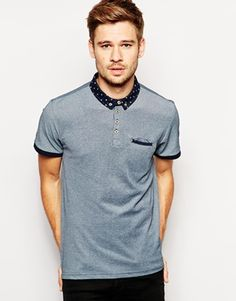 New+Look+Polo+Shirt+with+Ditsy+Print+Collar