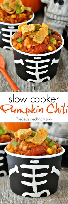 Slow Cooker Pumpkin Chili is an easy and healthy weeknight dinner, or a festive make-ahead meal to serve at a Halloween party! #DiabloHalloween #contest #ad