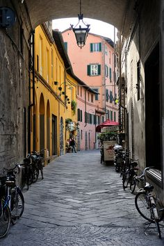 taken in lucca, italy --- I wanna walk down this street someday! Lucca Italy, Naples Italy, Tuscany Italy, Italy Italy, Sorrento Italy, Venice Italy, Wonderful Places, Beautiful Places, Places To Travel