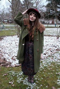 Doris Anne. vintage moss green coat, tapestry maxi skirt and merlot chapeau.