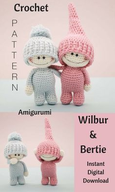 Wilbur and Bertie are adorable crochet dolls that you can create by using this pattern. This is an Instant Digital Download pattern so you can start gathering your supplies to make this cute duo right away! #crochet #crochetdoll #amigurumi #ad #amigurumidoll #dolls #instantdownload