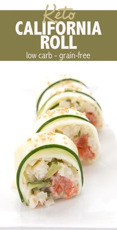No need to miss sushi on your keto diet! This low carb California Roll features thinly sliced cucumber, cauliflower rice, and plenty of fresh avocado. A healthy and fresh appetizer or snack. #lowcarb #ketorecipes #ketodiet #ketosnacks #sushi #cucumbers #avocado #californiaroll via @dreamaboutfood