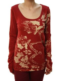 Lucky Brand Women's Floral Pattern Long Sleeve Scoop Neck Top Red | Traveling Of Life