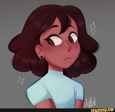 Connie with short hair so cute and adorable Cartoon Girl Drawing, Girl Cartoon, Cartoon Drawings, Cute Drawings, Connie Steven Universe, Black Girl Art, Universe Art, Cartoon Art Styles, Drawing People