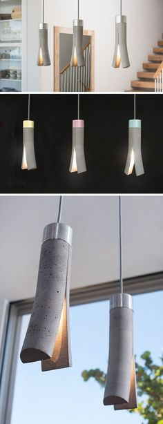 This Modern Concrete Pendant Light Looks Like It's Been Split In Two Más Concrete Light, Concrete Lamp, Concrete Design, Cement, Modern Lighting Design, Interior Lighting, Home Lighting, Lighting Ideas, Outdoor Lighting