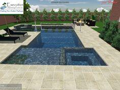 Custom Pool Design - Rectangular pool with flush spa, sunledge, volleyball net